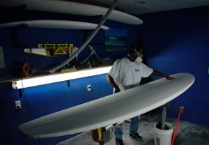 Bobby shaping Stand Up Paddle Board- SUP - in his workshop in Kirkland WA